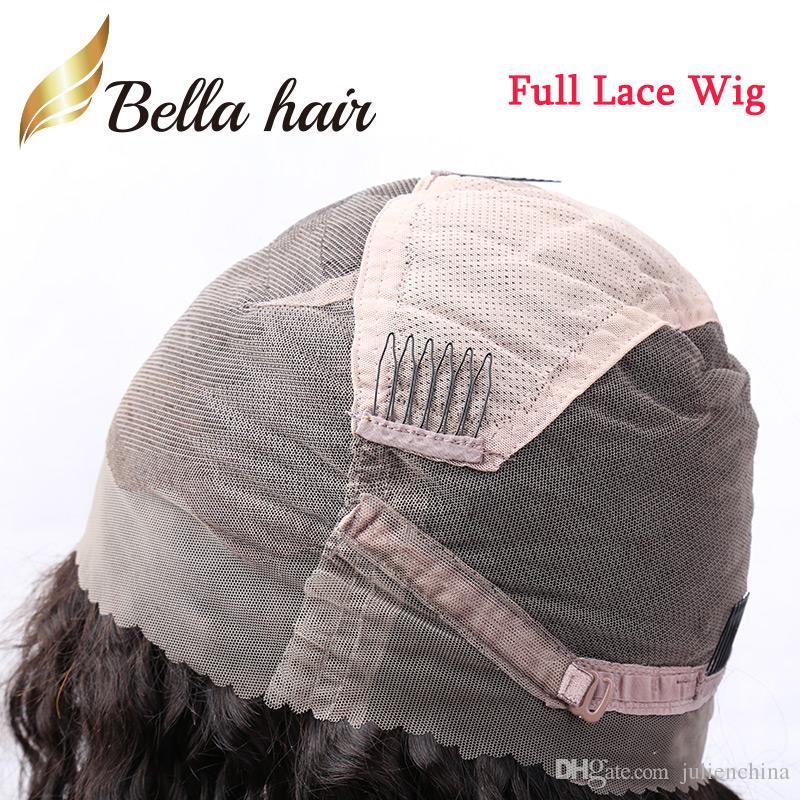 Perulu Saç Peruk Siyah kadınlar% 150 Yoğunluk Ücretsiz Bella Hair nakliye İnsan Saç Tam Dantel Peruk Doğal Renk Gluless Dantel Kıvırcık Peruk remy