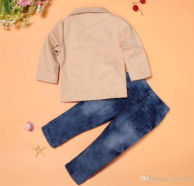 vestito uomo vestito signore di autunno della molla ragazzi Giacche Jeans Neonati maschi vestiti bambini Kids Designer coprono insieme