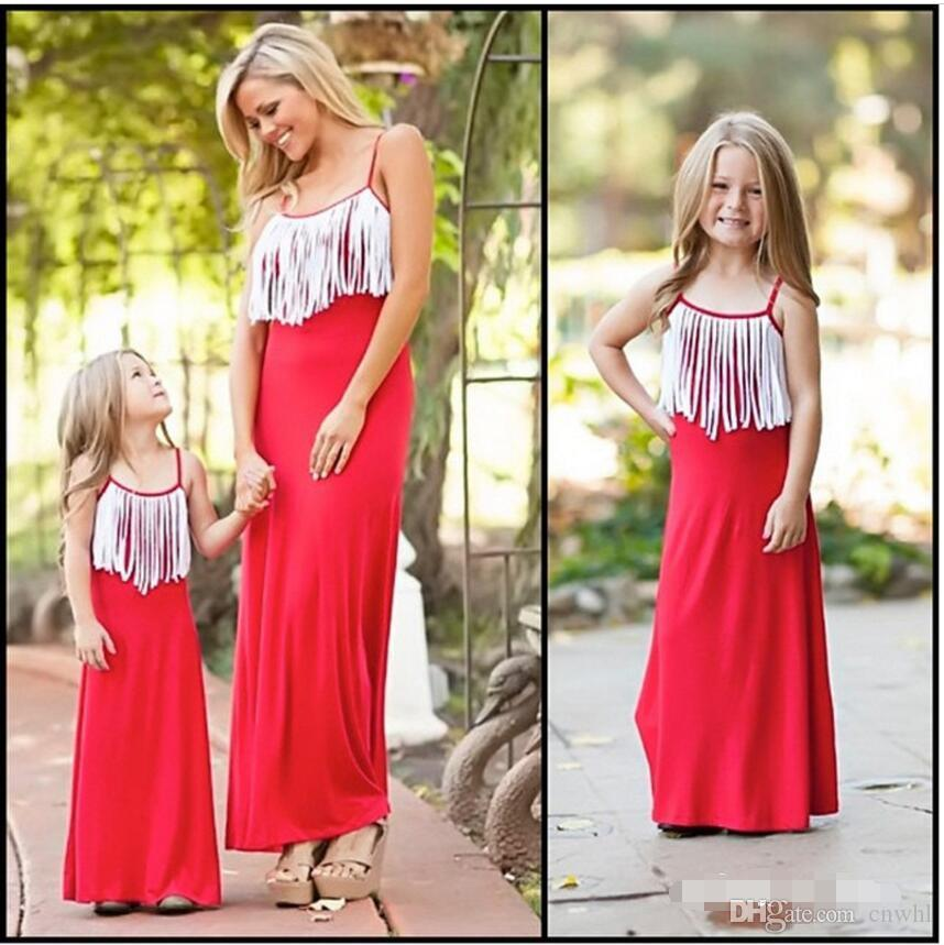 bd57358c61 Mom And Daughter Dress Family Matching Outfits Mum Baby Clothing Mother  Daughter Dresses Princess Tassel Dress Party Matching Fall Outfits For Kids  Matching ...