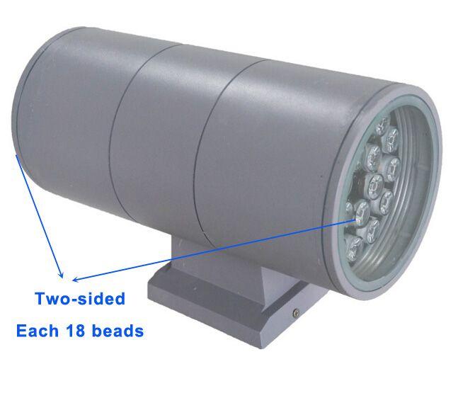 36W Esterno Interno UPDOWN LED Montaggio a parete Lampada AC 85 ~ 265V SU Giù Illuminazione Giardino Luce IP65 Impermeabile Lampadina 8 pz / lotto DHL