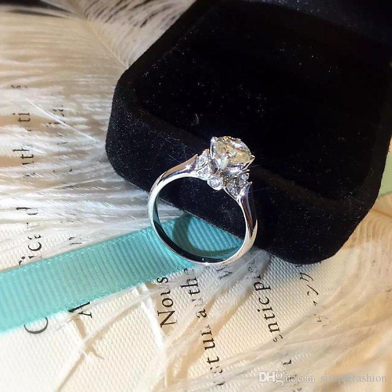 Vecalon 2016 moda Novo anel de casamento para as mulheres 1ct Simulado diamante Cz 925 Sterling Silver Anel de Noivado Banda Feminina dedo