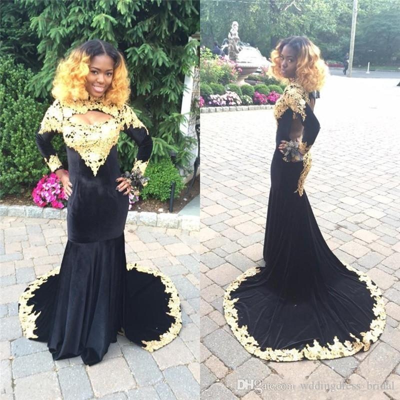 Plus Size African Prom Dresses 2019 High Neck Sexy Backless Prom