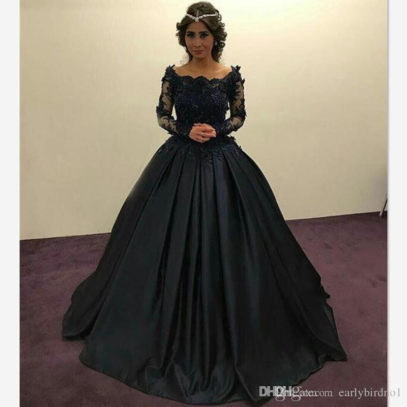 Acheter 2018 Graceful Black Princess Robes De Soirée Long Sleeves