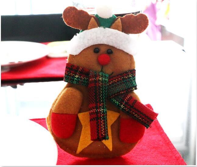 Christmas Santa Claus Snowman Elk Knife Fork Bag Tableware Dinner Cutlery Decor