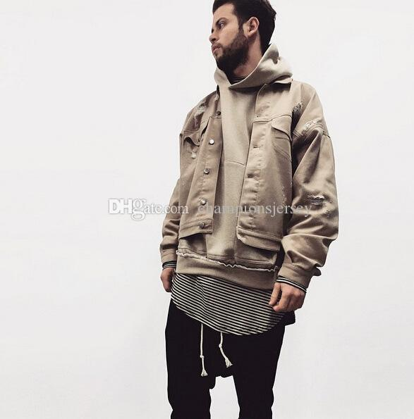 Hero Stand Khaki Denim Ripped Jeans Jacket Mens Hip Hop Swag ...