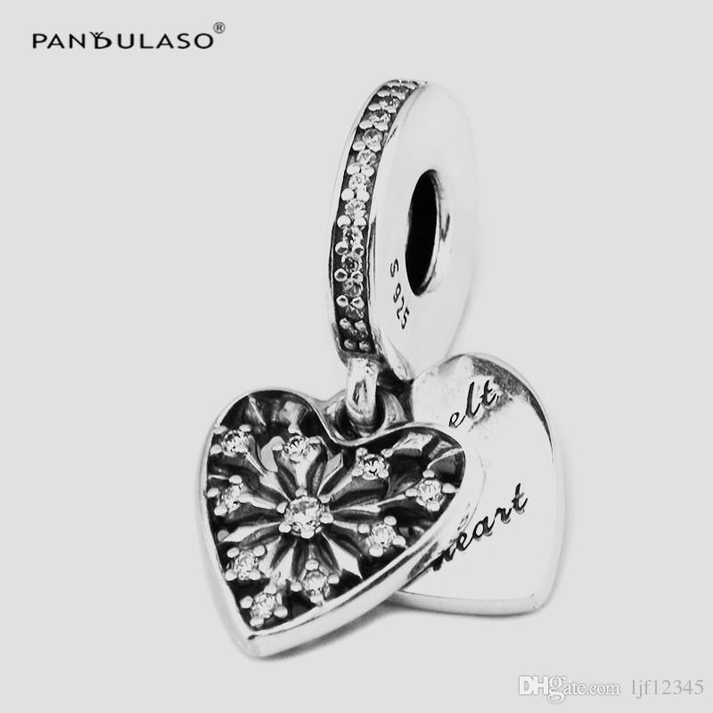Pandulaso Heart of Winter Dangle Charm Clear CZ Beads For Woman DIY Original Sterling Silver Jewelry Fit Pandora Charms Bracelets
