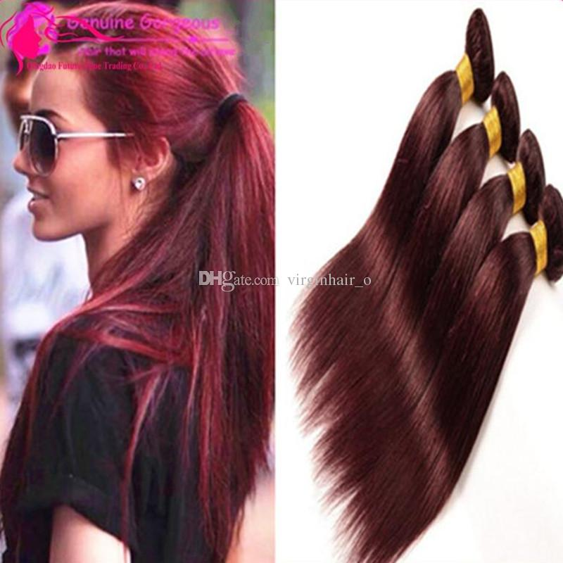 Burgundy Brazilian Hair Weave Bundles Grade 12a Brazilian Hair ...