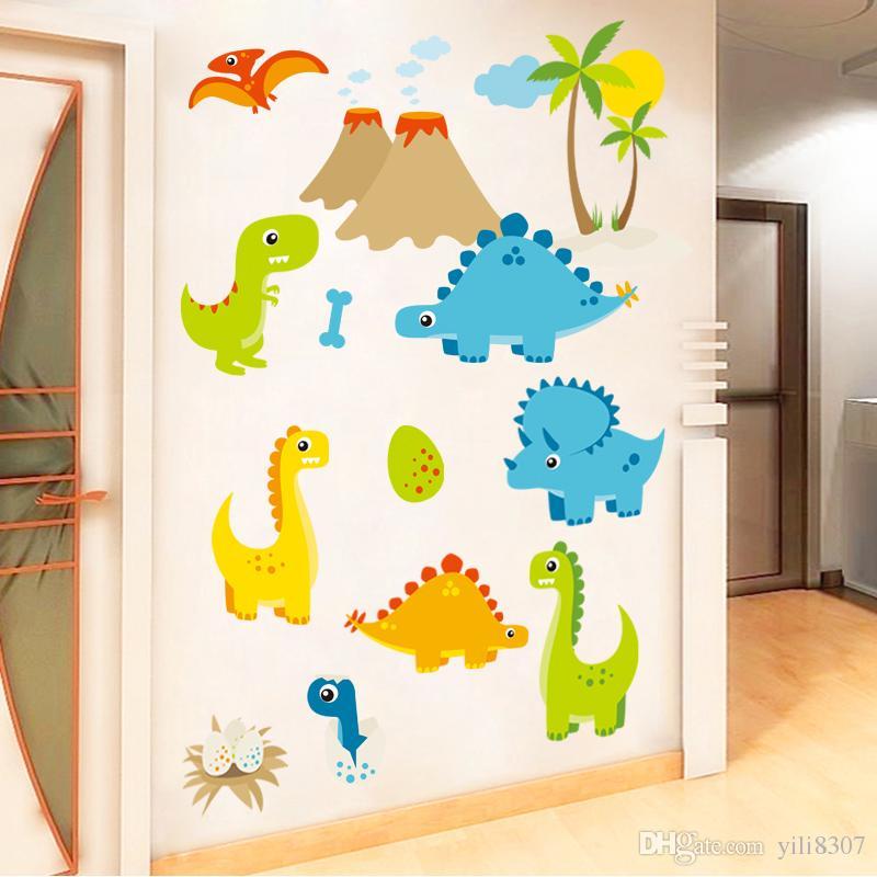 Cartoon Cute Dinosaur World Eggs Happy DIY Generic Decal Wall Sticker Kids Room Decor Mural living room vinyl Inspiration art