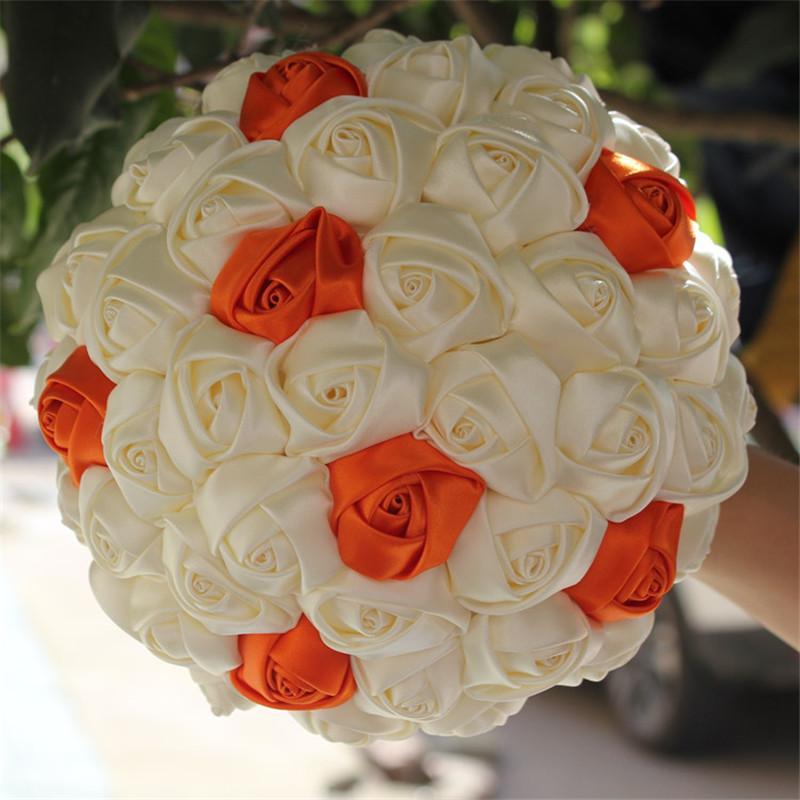 Grosshandel Freies Verschiffen Elfenbein Orange Kunstliche Blumen