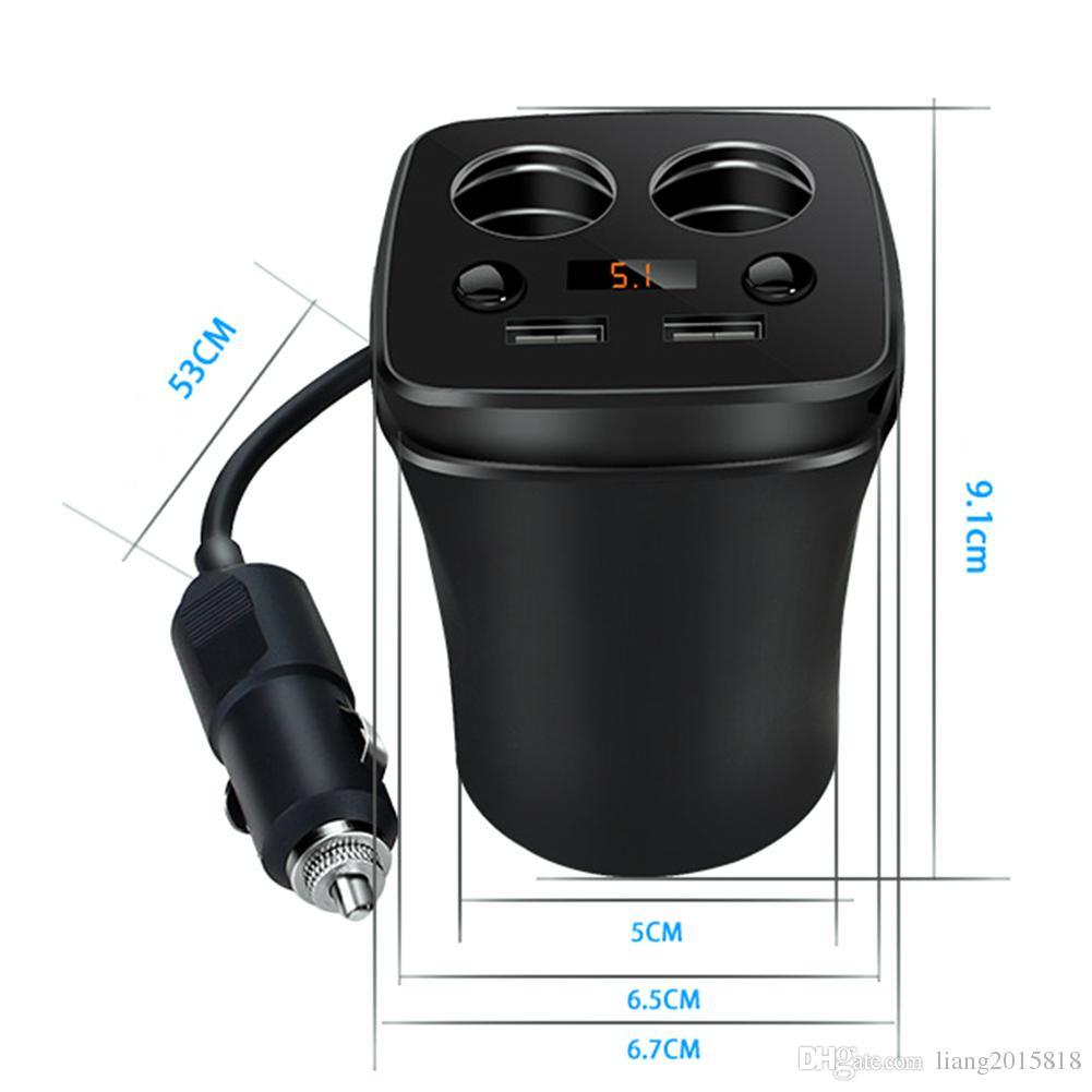 12-24V 3.1A Dual USB Caricatore accendisigari Caricabatterie Adattatore ramo Portata corrente Display auto 2 prese