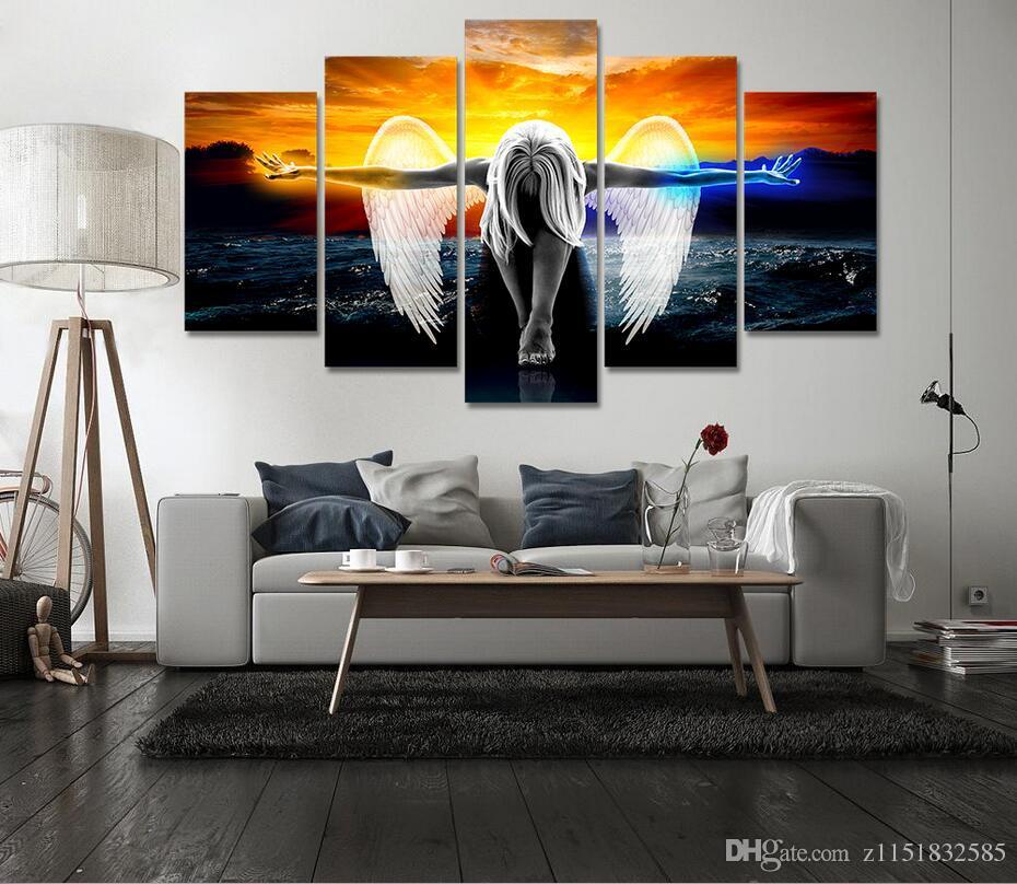 2017 HD Impressão 5 peça canvas wall art anjo com asas pintura anime home decor impressão poster wall art imagem Frete grátis