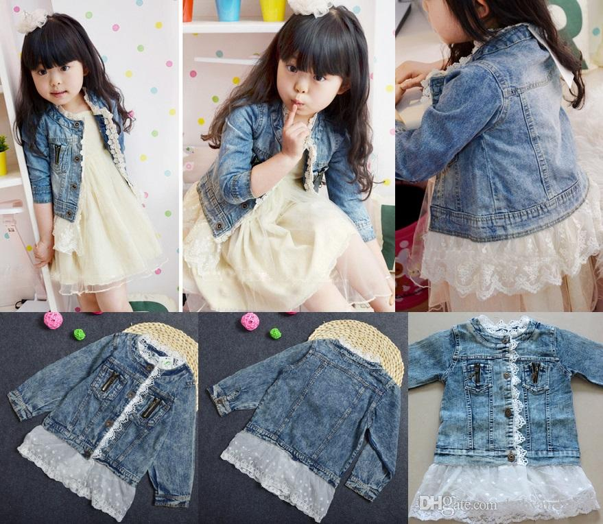 Babies Clothes Denim Lace Girls Jackets Girls Leisure Washed Denim