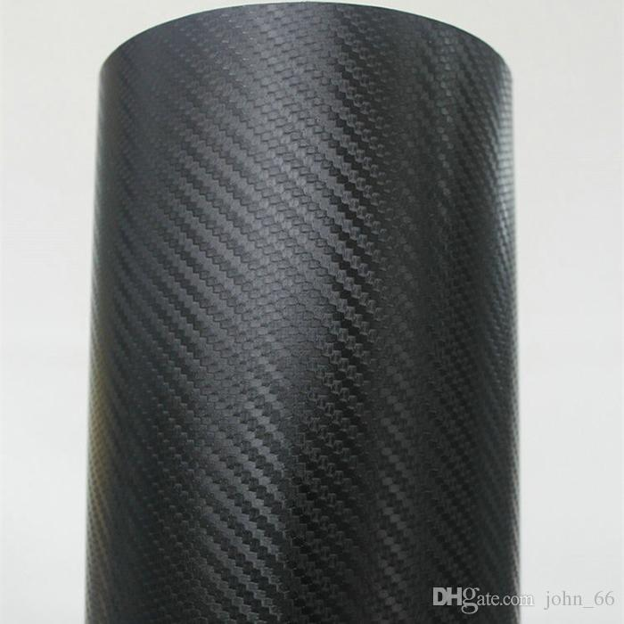 Glossy High polymer 3D Carbon Fiber Vinyl Film Car Sticker with Air Channels 1.52*20m/Roll Fedex with Free Gift Film Squeegee