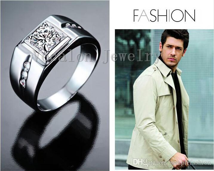 Vecalon fait à la main anneau de mariage pour les hommes 1 ct diamant