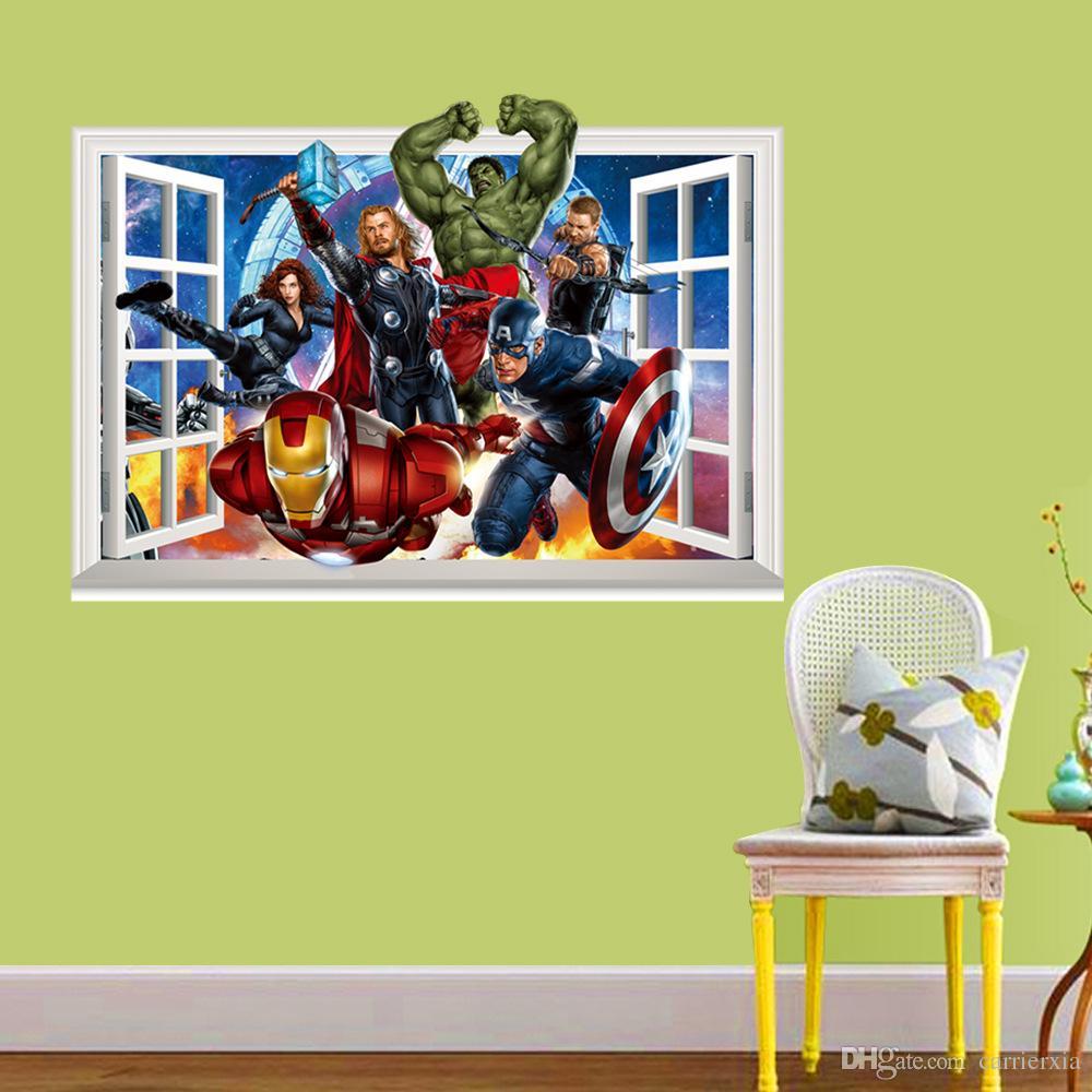 Etiqueta engomada de la pared del estilo de la ventana de los Vengadores 3D para los niños PVC Etiqueta engomada de la pared del arte mural colorida para los niños y la decoración del cuarto de niños