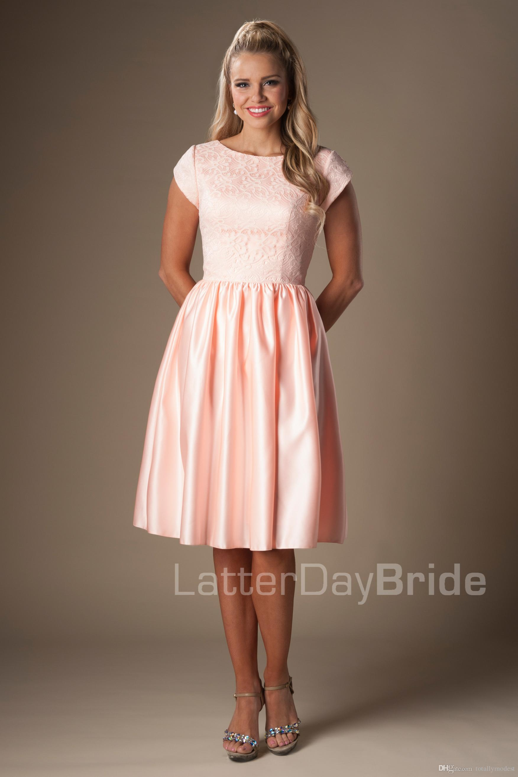 Pink lace satin short modest bridesmaid dresses with short for Short modest wedding dresses