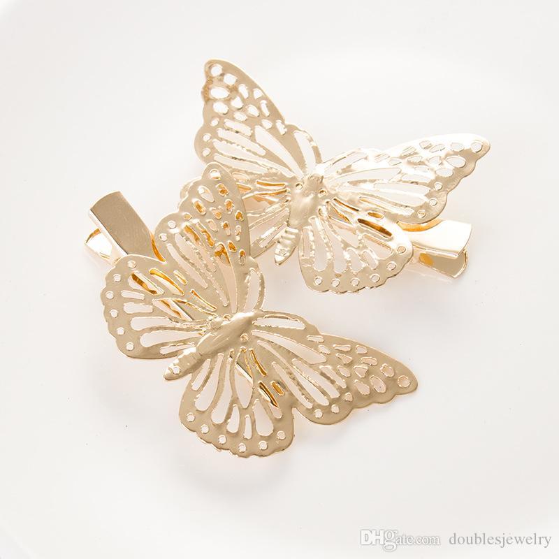 Butterfly Hair weibliche Tierversion von American Jewelry Gold und Silber Kopfschmuck um Seitenklemme Haarnadel Kopfschmuck Fabrik Großhandel