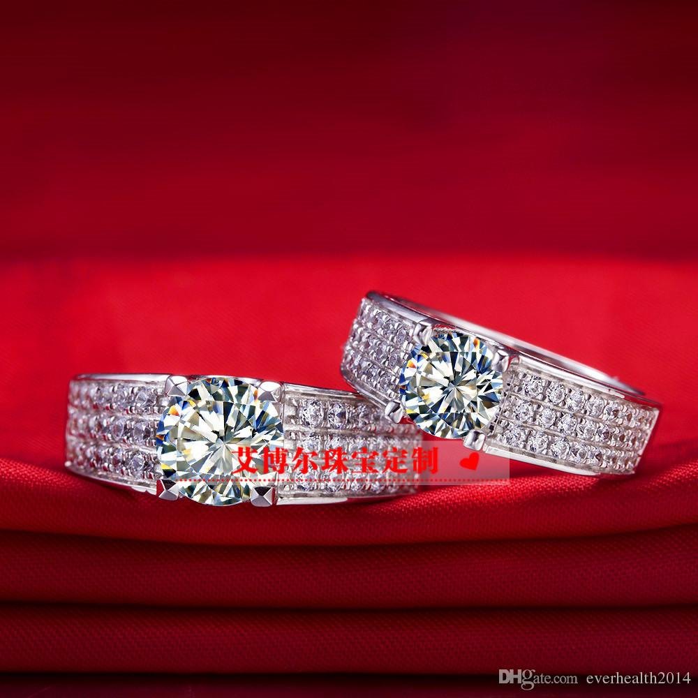 2CT 정품 소나 합성 다이아몬드 웨딩 약혼 반지 연인 925 스털링 실버 18K 도매 드롭 배송 DY-JZ0058