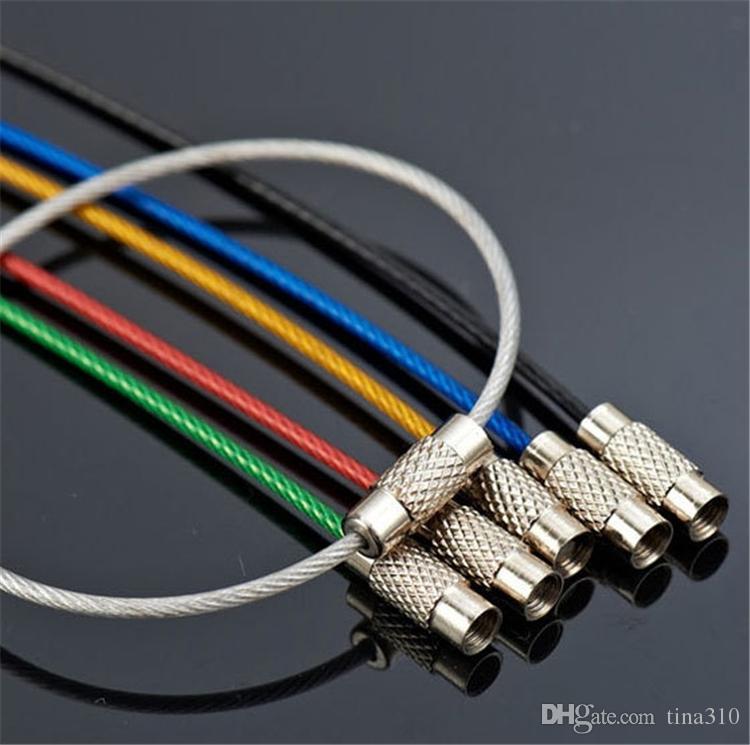 Yeni Paslanmaz Çelik Tel Anahtarlık Kablo Halat Anahtar Tutucu Anahtarlık Renkli Mix 15 CM Anahtarlık Yüzükler Kadın Erkek takı 4109