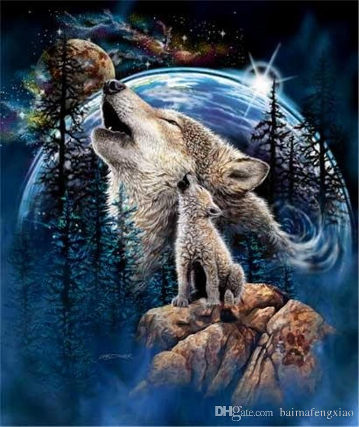 New DIY 5D Mosaic Diamond Painting Cross Stitch kits animal wolf in bag full Resin round Diamonds Embroidery needlework Home Decor yx0035