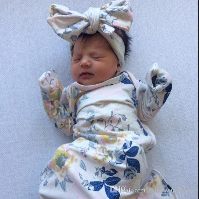 Младенческая девочка спальный мешок новорожденного ребенка мягкий хлопок спальный мешок с совпадающими оголовье из двух частей набор детские пеленание обертывание для 0-3 м