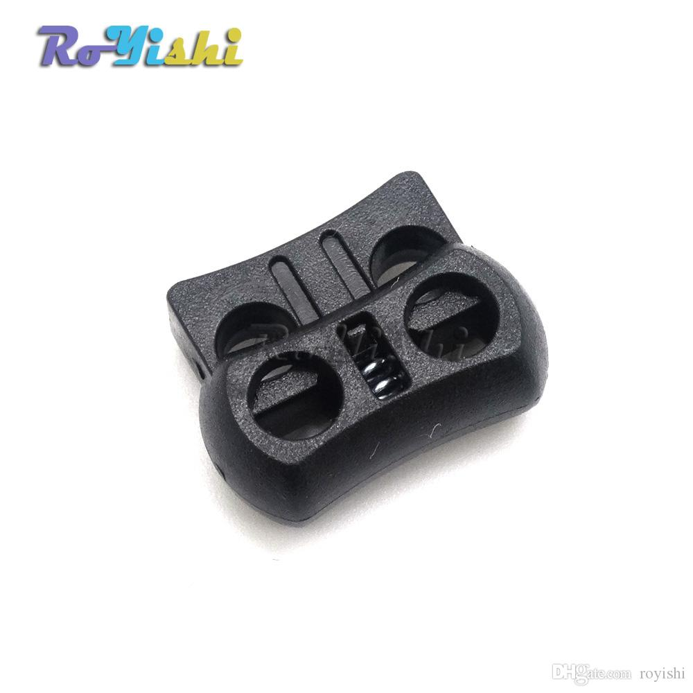 2019 2 Holes Cord Lock Toggle Stopper Plastic Clip Black 15mm20mm75mm From Royishi 71