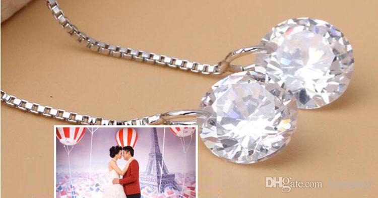 Srebrne kolczyki Gorące Sprzedawanie Kryształ Drop Dangle Chandelier Kolczyki Dla Dziewczyny Party Moda Biżuteria Hurtownie Darmowa Wysyłka 0052Wh