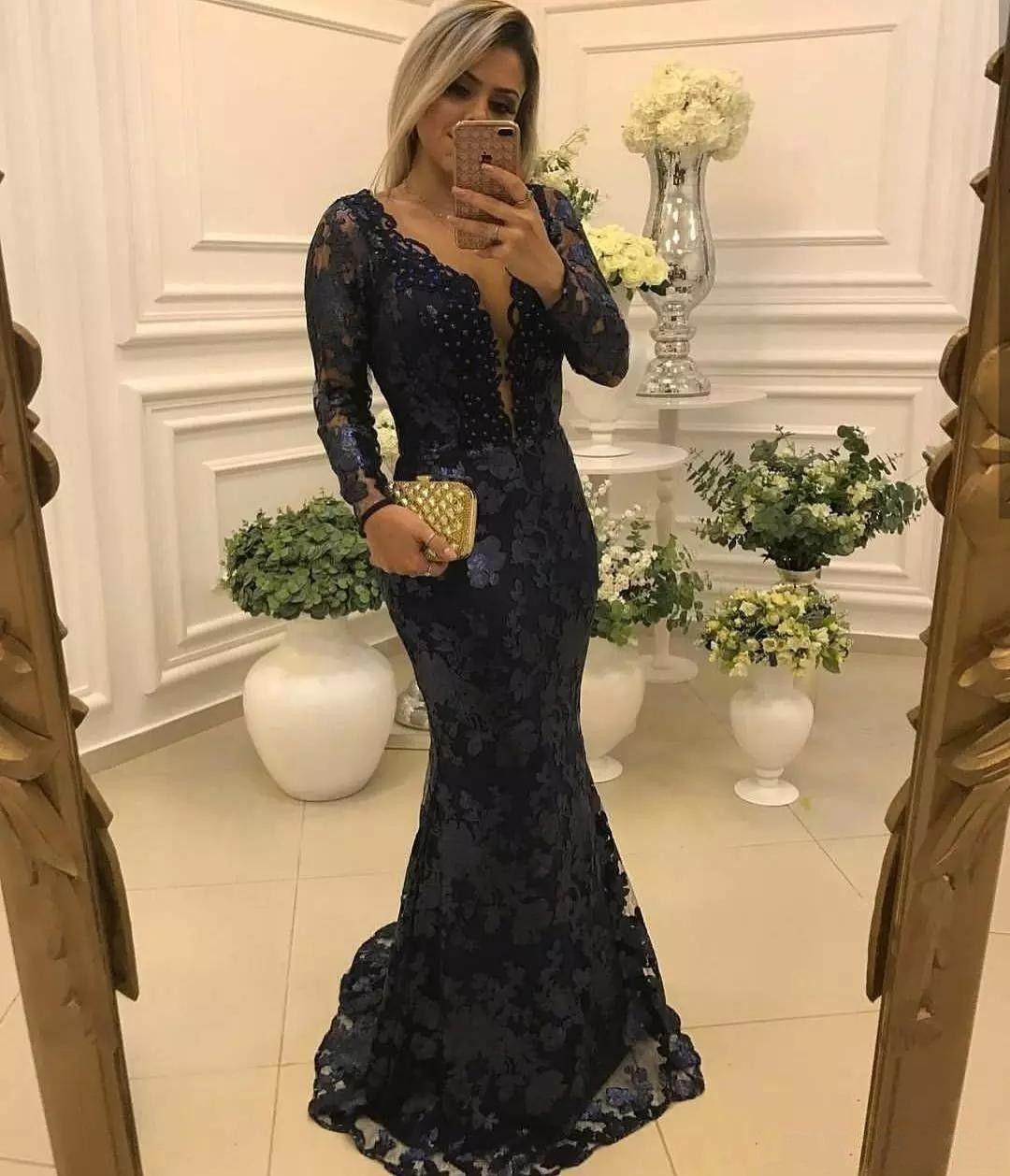 Elegante blu navy con sirena Abiti da madre della sposa Vedi attraverso pizzo Appliques Abito da sera con maniche lunghe abito formale robe de soiree