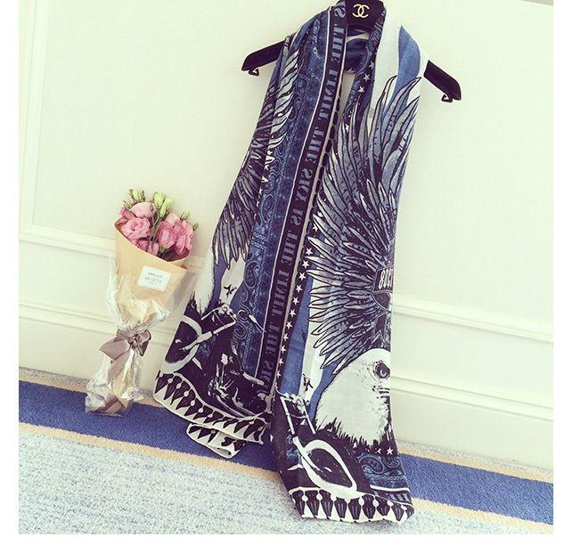 Senhoras Mulheres primavera outono lenços moda wraps impresso águia de algodão pashmina xaile moda casual anel acessórios, fácil de combinar