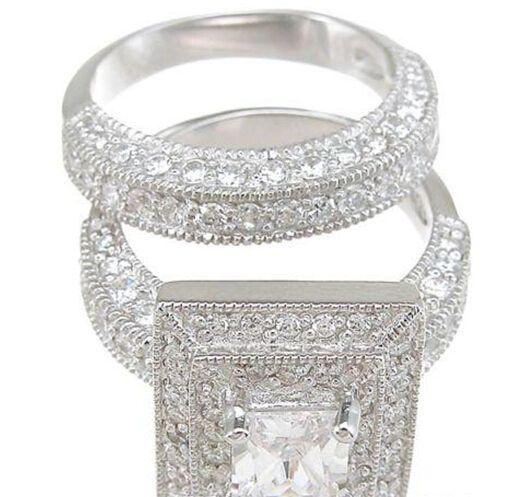 Al por mayor - oro blanco al por mayor de joyería de la vendimia Profesional Topaz diamante simulado 14KT Lleno 3-en-1 del anillo de bodas Conjunto para el regalo de Navidad