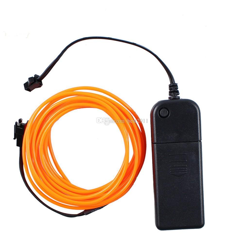 3V 3M EL Cable de cuerda de tubo accionado por batería con luz de neón flexible Fiesta del coche de Navidad Decoración de boda con controlador de luz de tira LED