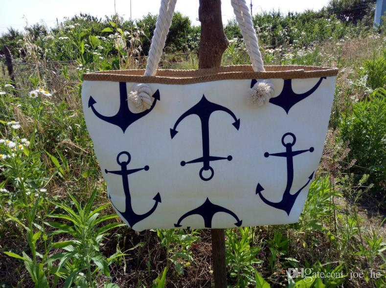 Beutel-Frauen-Streifen-Boots-Anker-Entwerfer-Handtaschen-Schulter-Kurier-Beutel-Sommer-Handtaschen-Beutel Totes DHL geben Verschiffen frei