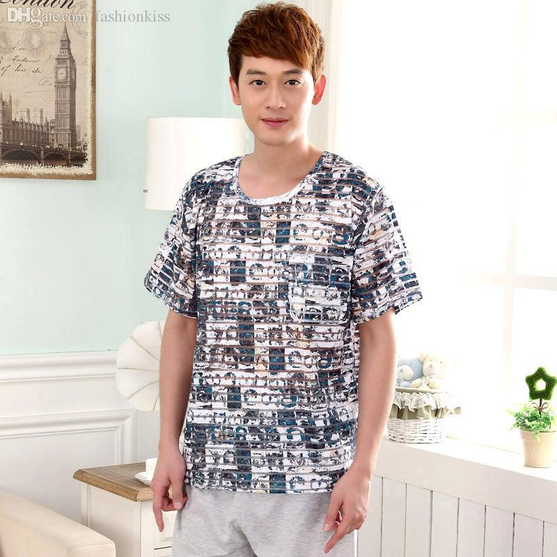 Underwear & Sleepwears Half Pants Beautiful 2019 Summer Brand Homewear Men Casual Print Pajama Sets Male Soft Cotton Sleepwear Suit Mens O-neck Collar Shirts Men's Pajama Sets