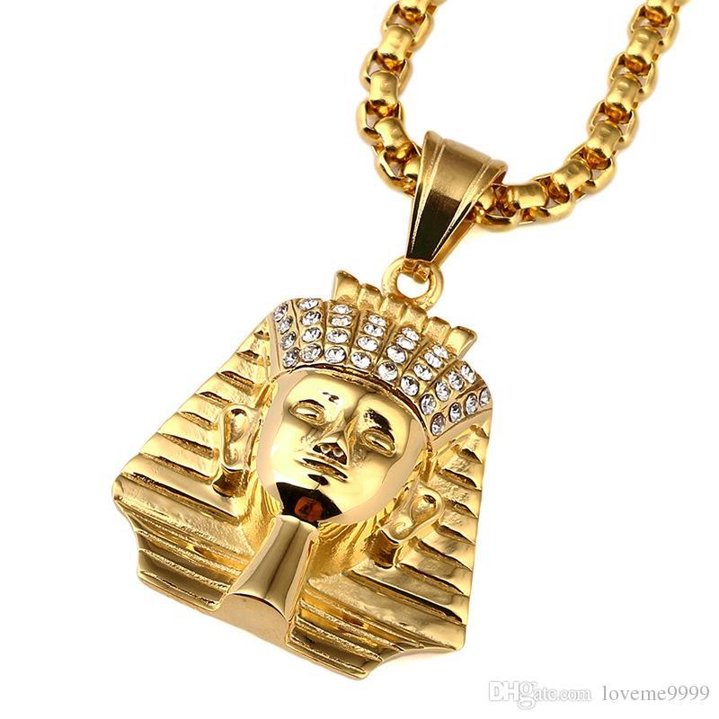 I più venduti Moda Hip hop Mens Alta qualità 24K Placcato in oro acciaio inossidabile Mens Ultimo Il re Faraone Pendenti Collane Set di gioielli