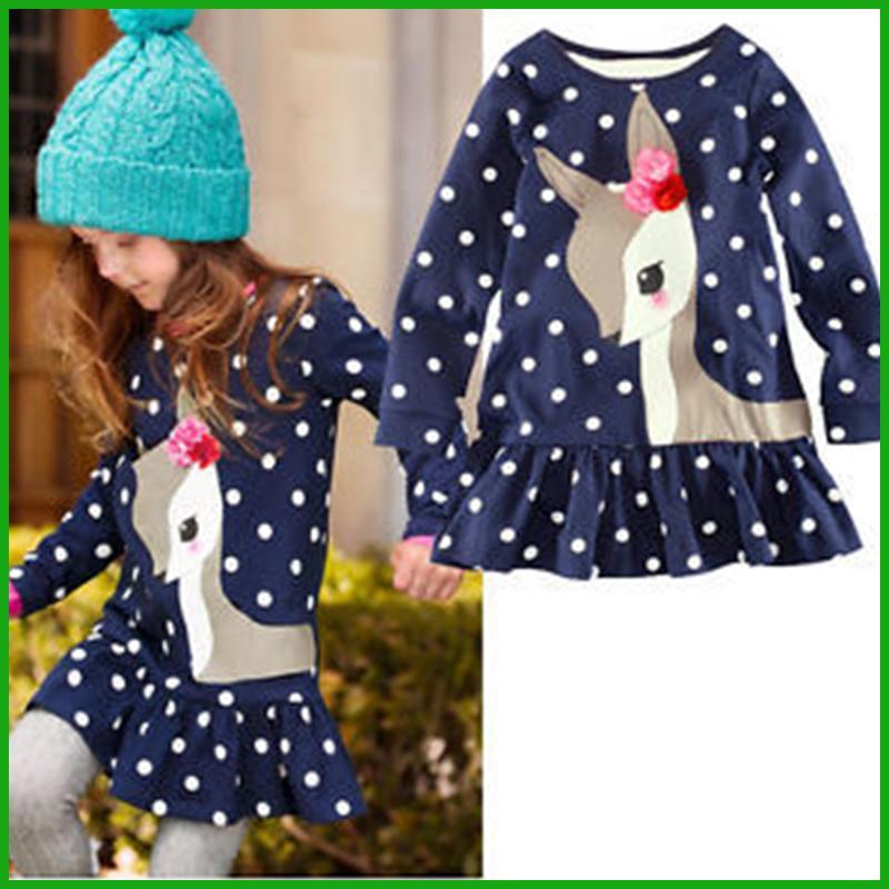 Christmas girls polka dot dress hot sales top skirt deer animal print cotton long sleeve fashioncostumes children girls clothing vestidos