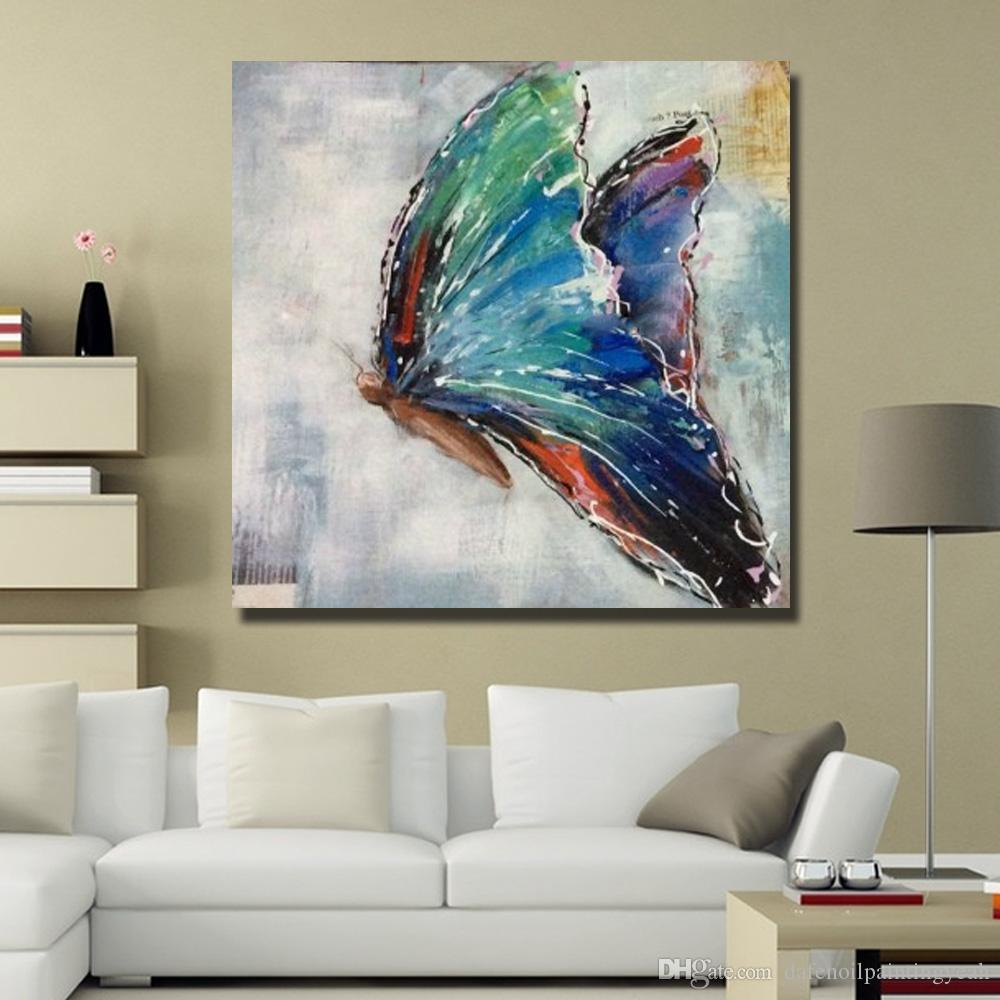 Hand made Flying Butterfly Oil Painting Animal Wall Decor Pictures Bedroom Decoration Modern Painting on Canvas No Framed