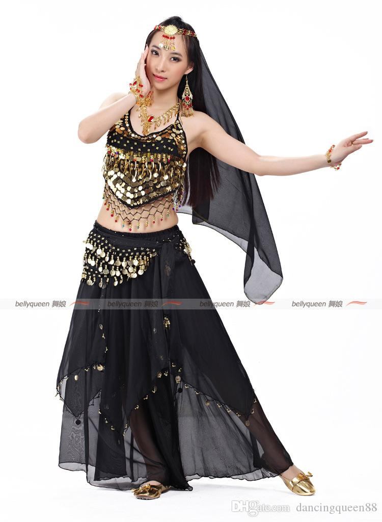 2018 Belly Dance Costume Professional Head Chain+Bra+Veil+Waist Chain+Skirt Belli Dancer Free Size Sexy Costumes Free Ship