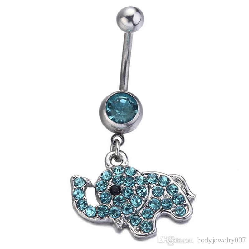 D0189-2   clear stone elephant Belly Button ring Navel Rings Body Piercing Jewelry Dangle Accessories Fashion Charm