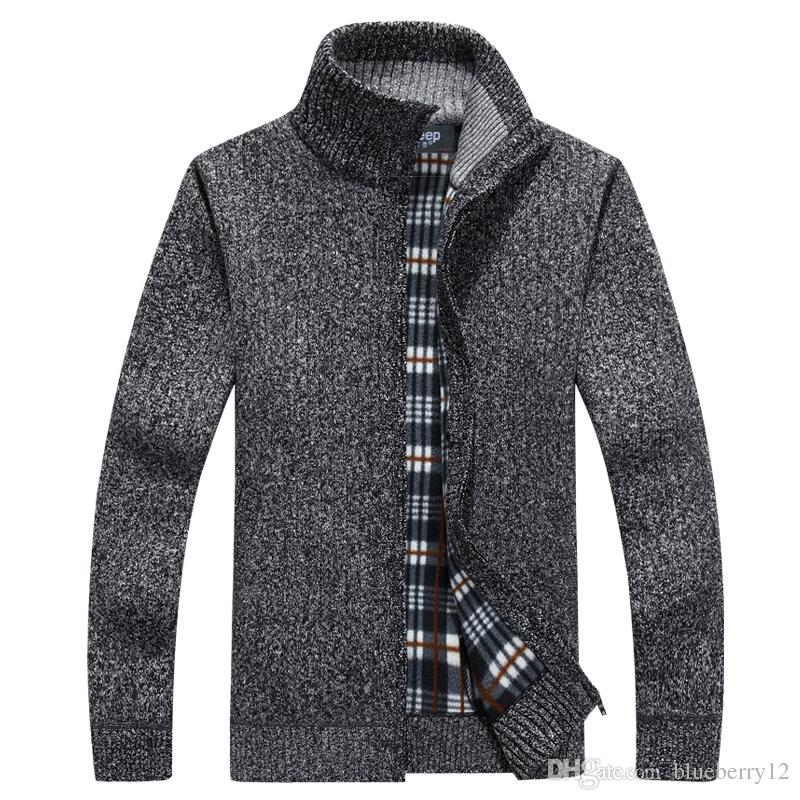 New Cardigan Mens Cardigans Knitwear cremallera suéteres cálida sudadera con capucha del paño grueso y suave Sudaderas con capucha para el otoño invierno