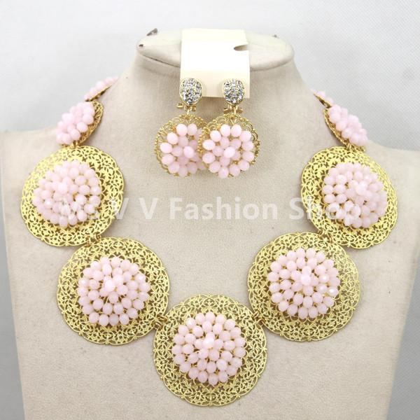 fashionable jewelry nigerian wedding gold crystal beads african beads jeweley set bracelet pendant necklace & stud earrings Jewelry Set