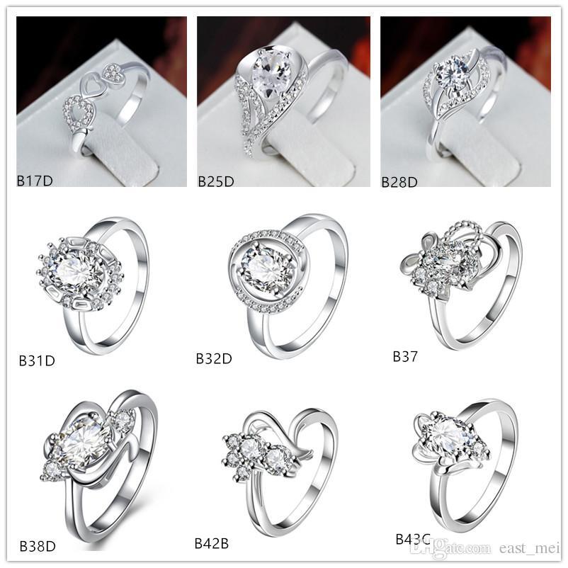 estilo misto de moda pedra preciosa branca 925 anel de placa de prata EMGR22, Arco Flor Três corações banhados anel de prata esterlina 10 peças muito