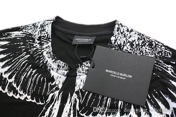 Ss جديد مارسيلو بورلون تي شيرت الرجال ميلان ريشة أجنحة تي شيرت الرجال النساء زوجين عرض الأزياء روديو ماغازين تي شيرت Goros camisetas