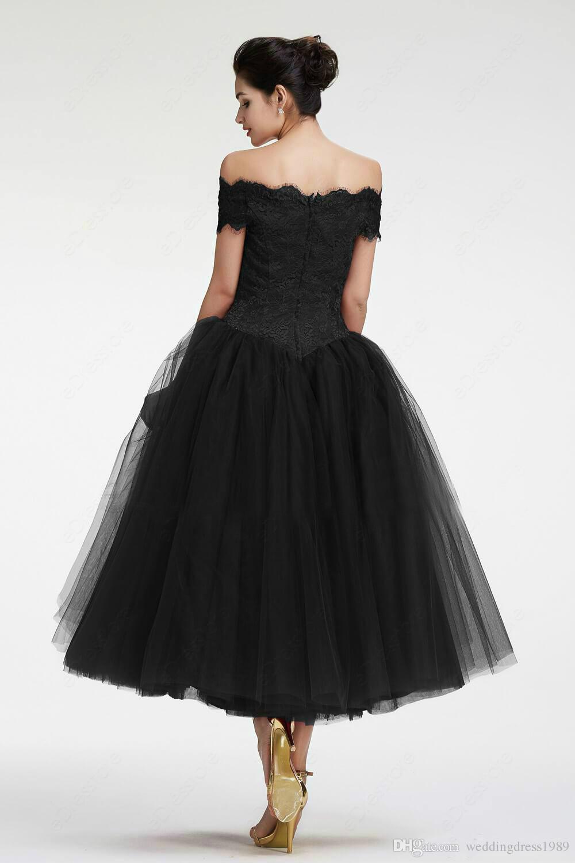 Mütevazı Dantel Kısa Parti Elbiseler Aplike Siyah 2018 Bateau Boyun Tül Sheer Abiye Balo Elbise Akşam Resmi Elbise Robe De Soiree.