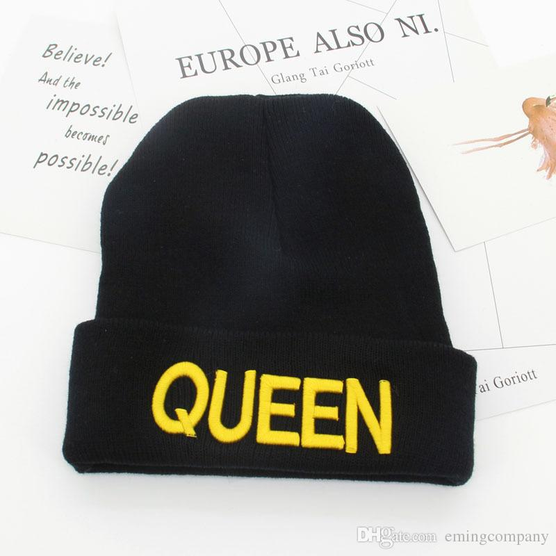 Quality QUEEN KING Word Embroidery Acrylic Knitted Beanies Letter ... 96586edbd259