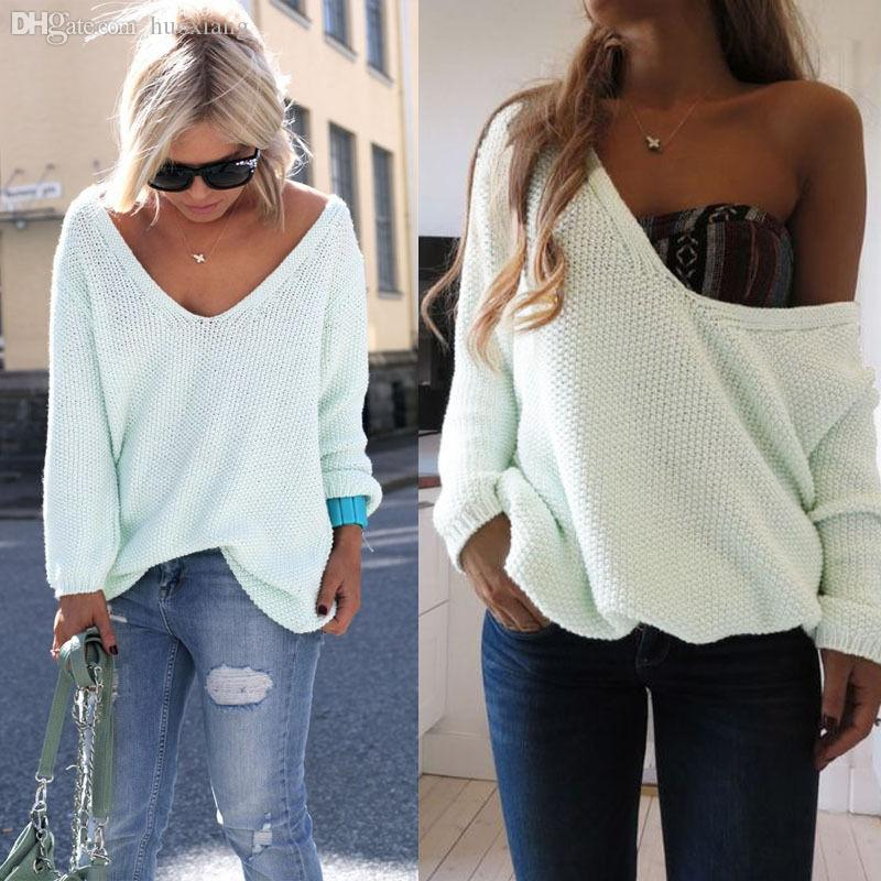 Wholesale-Womens Ladies Off The Shoulder Chunky Knitted Oversized ...