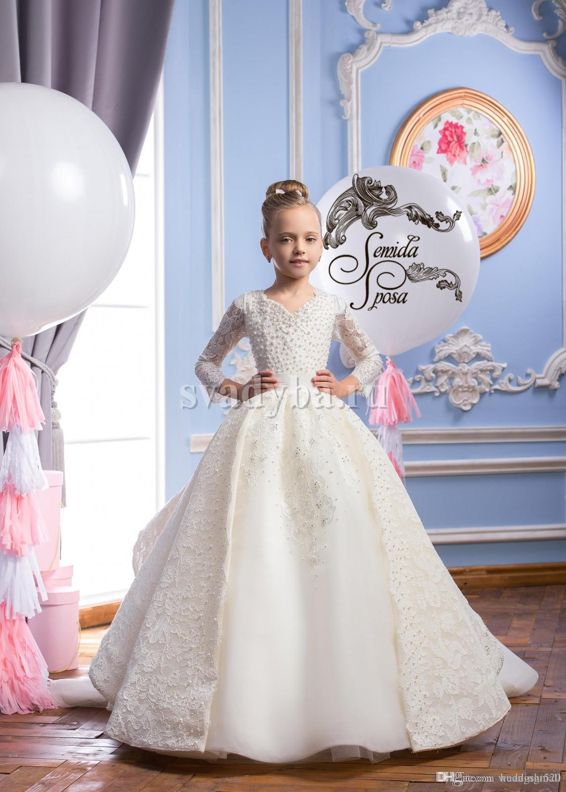 2016 Spitze Perlen Langen Ärmeln Luxuriöse Arabischen Blumenmädchen Kleider Vintage Kind Pageant Kleider Schöne Blumenmädchen Brautkleider F29