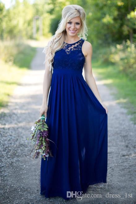 2019 Country Style Royal Blue pizzo e chiffon A-line abiti da damigella d'onore lungo economico Jewek Cut-Out indietro pavimento lunghezza abito da sposa EN6181