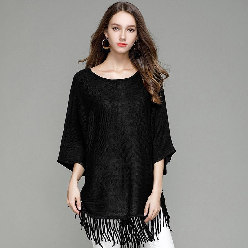 2019 Autumn Women Pullover Sweater Tassel Bat Sleeve Round Collar Solid  Color Tops Shirt Black Blue Red Loose Casual Knitted Sweaters From Vogogirl c332d8264