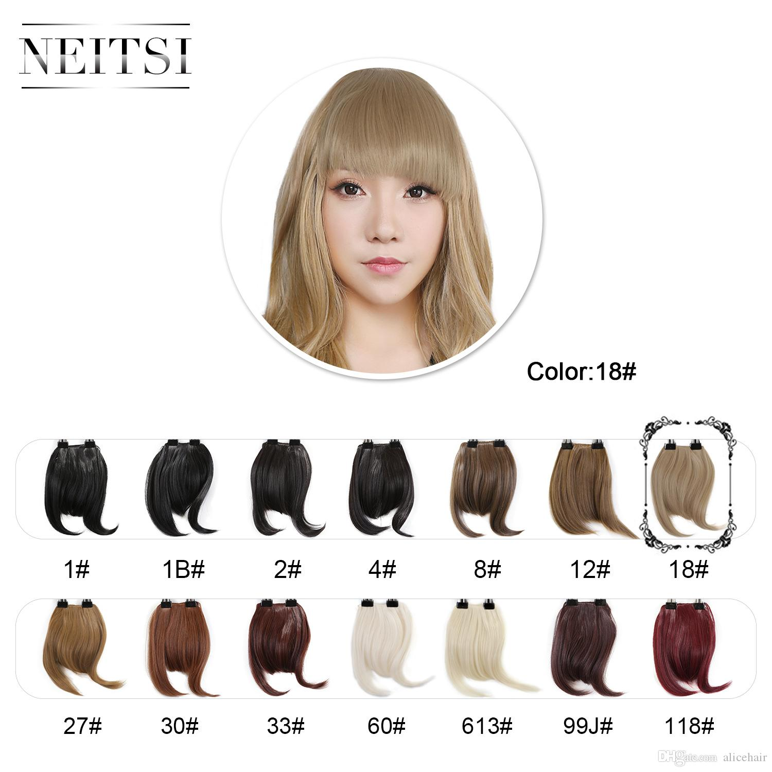 7u0027u0027 Blonde Neitsi Fake Front Fringe Clip In Bangs Hair Extentions 100%  Korea High Synthetic Fiber18# Long Hair Styles With Bangs And Layers Long  Layered ...