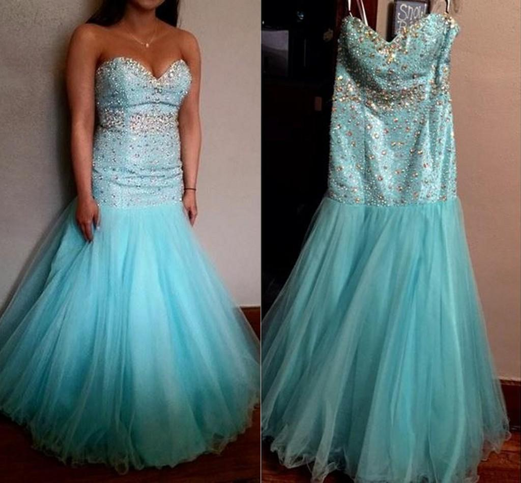Blue Plus Size Tulle Turquoise Prom Dresses Party Evening Gowns ...